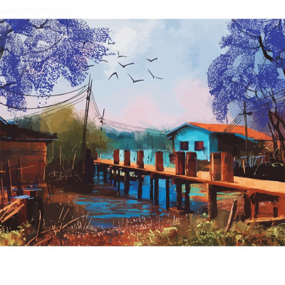 Paint by number kit with scenary, DTPI2551