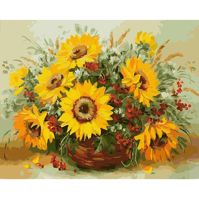 Paint by number kit with flowers, DTPI304