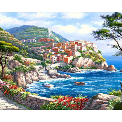 Paint by number kit with cities, Scenery Sea
