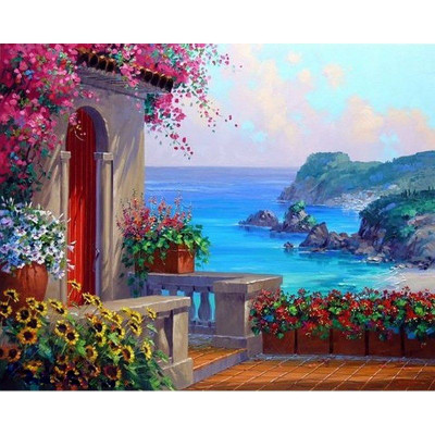 Paint by number kit with scenary, Summer House