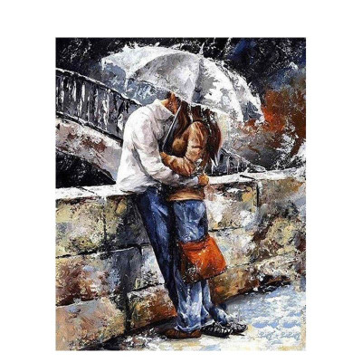 Paint by number kit with people, Couple Love with Umbrella