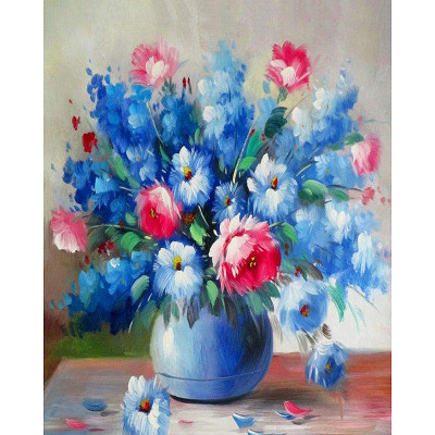 Paint by number kit with flowers, Blue flowers