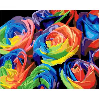Paint by number kit with flowers, Rainbow flowers