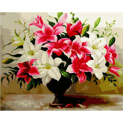 Paint by number kit with flowers, Beautiful lilies