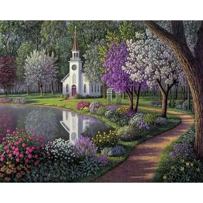 Paint by number kit with scenery, Church Garden