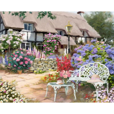 Paint by number kit with scenery, Garden Scene