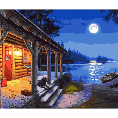 Paint by number kit with scenery, The Hunter's Cabin