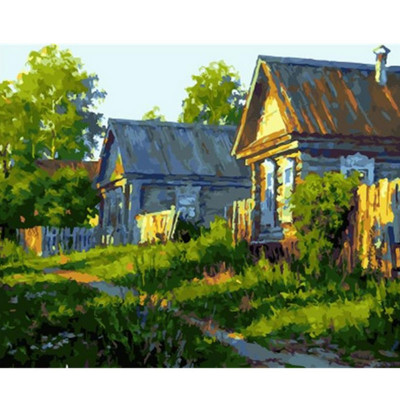 Paint by number kit with scenery, Native village